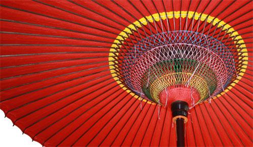 傘の下の写真