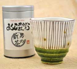男のお茶と湯呑み(織部十草)