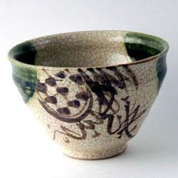 織部 茶碗・花