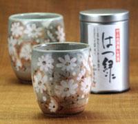 ペアー秋桜湯呑みとはつ緑!