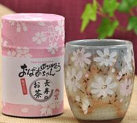 長寿のお茶と秋桜湯呑みセット